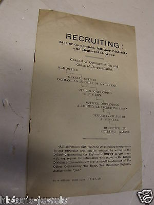 WW1 HOME FRONT booklet leaflet no4 RECRUITMENT