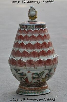 Mark Old China Wucai Porcelain Maitreya Buddha Statue Tank Pot jar Bottle CrockA