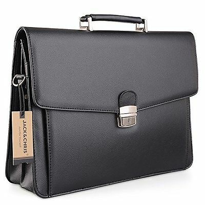 Jack & Chris New PU Leather Briefcase Messenger Bag Laptop Bag MBYX012 - Black