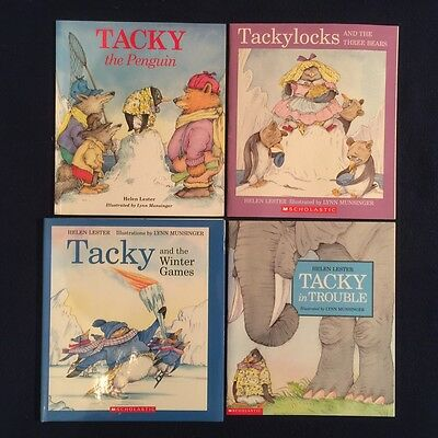 Lot of 4 Children's Picture Books by Helen Lester: Tacky the Penguin Series