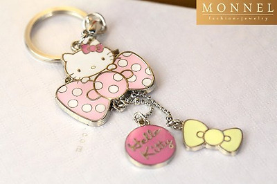 Z71 Adorable Hello Kitty & Pink Bow Charms Keychain Key Ring