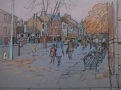 COLOURED GRAPHITE DRAWING by FREDERICK GEORGE WILLS 1901-1993 R.I. KETTERING