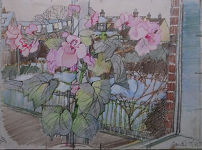 COLOURED GRAPHITE DRAWING by FREDERICK GEORGE WILLS 1901-1993 R.I. FLOWERS