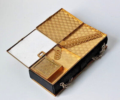 Vintage Black and Gold Cigarette Case collectible retro mid century ladies