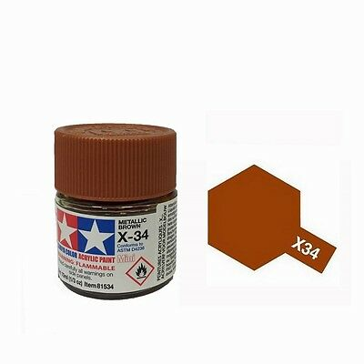 Tamiya Colore Acrilico in barattolino - Metallic Brown Lucido X-34 - 81534 10 Ml