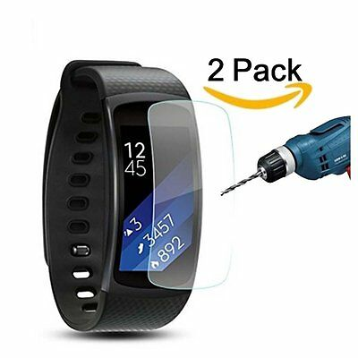 2 Pack Ultra HD Screen Protector Anti-Bubble, Samsung Gear Fit 2 Glass Tempered