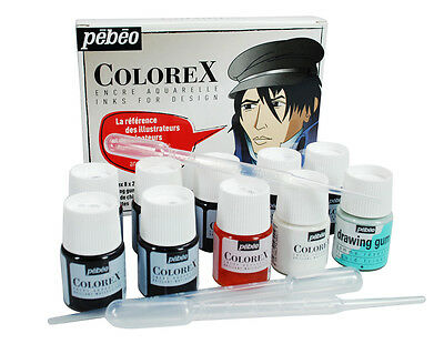 Pebeo Colorex Artist Liquid Watercolour Ink 8 x 20ml Colours with Drawing Gum