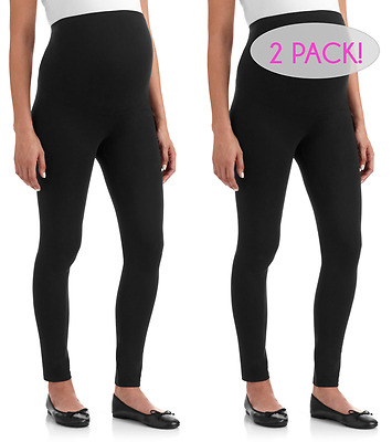 NEW 2 Pack - Soft Cotton Black Maternity Leggings Over the bump Stretchy Support