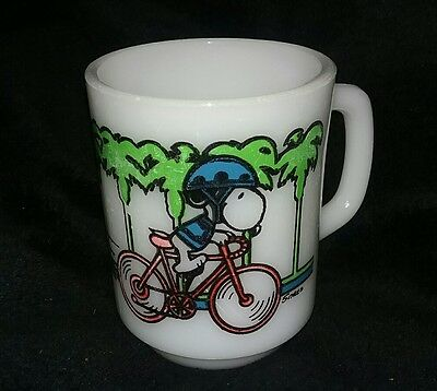 Vintage 1950's Snoopy Pedal Power Milk Glass Mug Coffee Cup