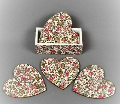 6x Chintz Style Pink And Green Floral Heart Coasters in holder