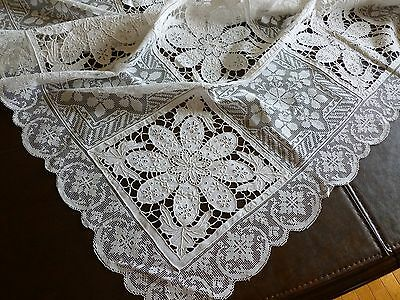 Lovely Vintage Army Navy Tablecloth Embroidery Cutwork Reticella Filet Lace