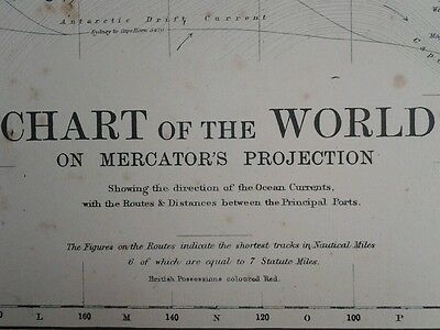 1892 LARGE MAP ~ CHART of THE WORLD on MERCATORS PROJECTION