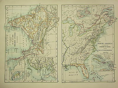 1892 Historical Map Conquest Of Canada Independence War ~ British Indian Empire