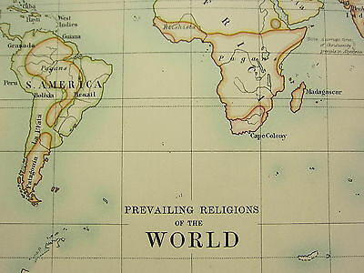 1892 Large Map ~ Prevailing Religions Of The World Protestants Catholics Greek