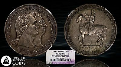 1900 $1 Lafayette Silver Commemorative Dollar NGC AU Details (Cleaned) - PACoins