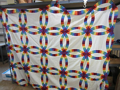 Vintage Hand Sewn Quilt Top- Double Wedding Ring- Solid Primary Colors