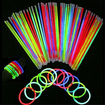 50Pcs Glow Sticks Bracelets Necklaces Fluorescent Neon Party Wedding Magic Best