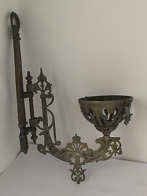 Antique Victorian Cast Brass Swing Arm  Oil Lamp Wall Sconce & Bracket