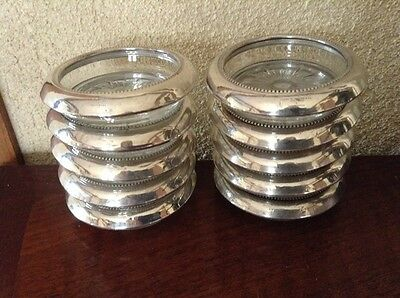 Frank Whiting Sterling Silver & Glass Drink Coasters Set Of 10