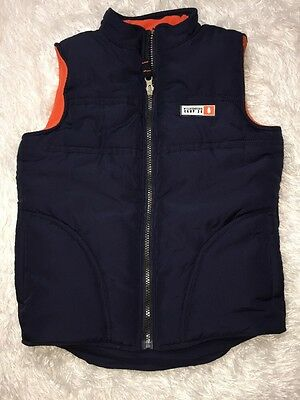 Preowned Boys Toddler Carter's Wilderness Camp 36 Navy Blue Puffy Vest, Size 7