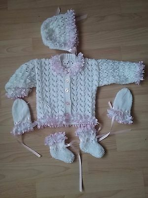 HAND KNITTED0/3 mths BABY GIRL cardigan SETS
