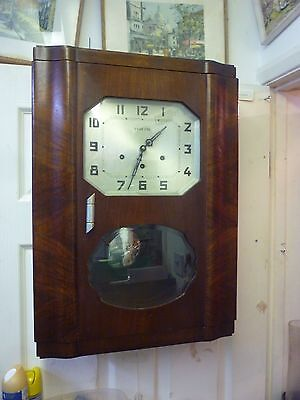 Original Art Deco Oak Cased Westminster Chime Wall Clock  Full Working Order (4)