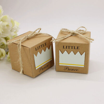50pcs Kraft Paper Little Prince Crown Candy Box Girl Boy Baby Shower Favor