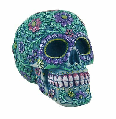 Floral Day of the Dead Aqua and Purple Sugar Skull Coin Bank