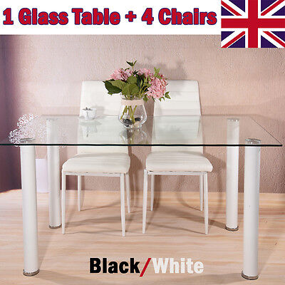 Black / White Square Glass Dining Table Set with 4 Faux Leather Chairs Modern