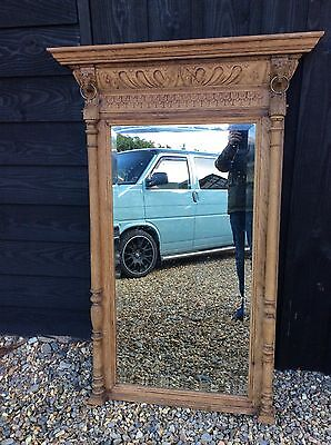 Large Oak Floor Mirror gothic Tall Dressing Industrial Foxed Overmantle Antique