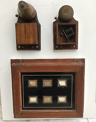 Antique Vintage 6 Room Servants Butler Indicator Wooden Bell Box & 2 Bells