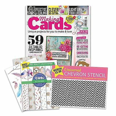 Making Cards Magazine May 17 - With Hey Little Birdie Papers & Chevron Stencil