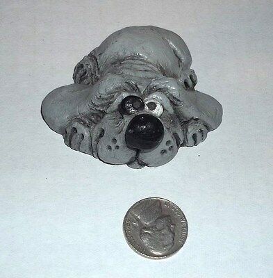 "Grey Dog Small Figurine Silly Funny 2.5"" Gray"