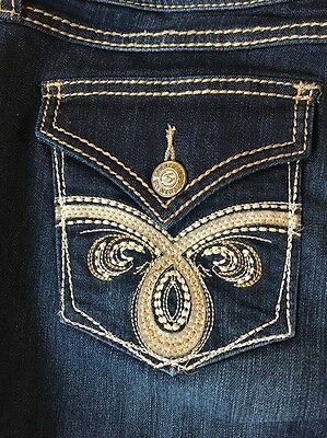 SEVEN 7 WOMEN'S EMBROIDERED SLIM BOOTCUT JEANS  REBORN BLUE size 8