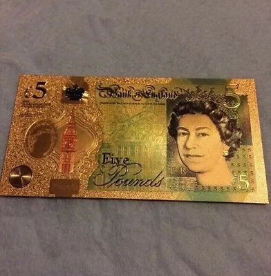 New £5 24k Gold Banknote Aa01 000007 Note Uk Gbp Collectors
