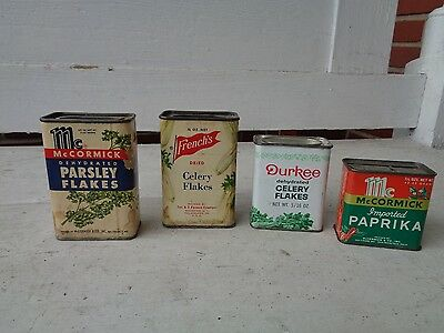 4 Vintage Spice Tin Can Mccormick Durkee French's Kitchen Advertising Graphic