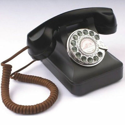 Steepletone STP121 1940s Telephone Working Rotary Dial Old Fashioned Black Phone