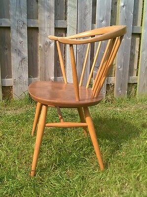 Vintage Ercol Cowhorn Desk/ Dining Chair Blonde