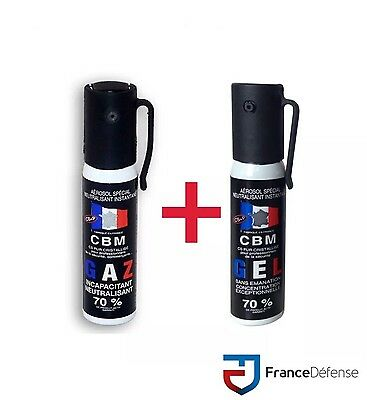 Bombe Lacrymogene pack Spray de défense 25 ml Gel CS + 25 ml Gaz CS CBM
