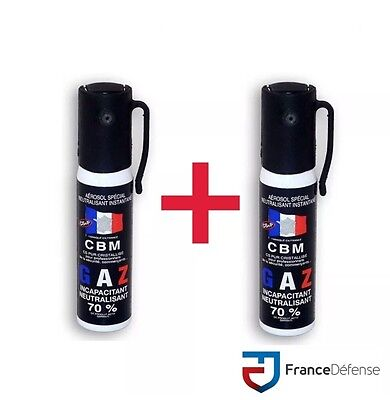 Bombe Lacrymogene pack Spray de défense 25 ml Gaz CS + 25 ml Gaz CS CBM