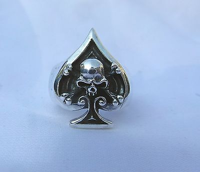 Sterling  Silver  (925)   Ace  Of  Spades  With  Skull  Ring   !!        New  !!