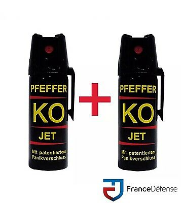 Bombe Lacrymogene pack Spray de défense 50 ml Gaz CS + 50 ml Gaz CS  KOFOG JET