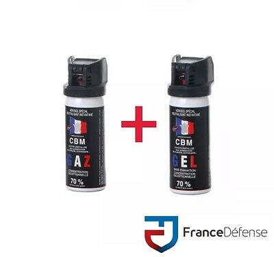 Bombe Lacrymogene pack Spray de défense 50 ml Gel CS + 50 ml Gaz CS CBM