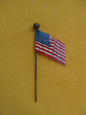 Circa WW1 Celluloid American Flag Advertising Stick Pin Drehers Wainright Pianos