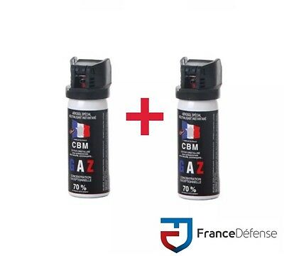 Bombe Lacrymogene pack Spray de défense 50 ml Gaz CS + 50 ml Gaz CS CBM