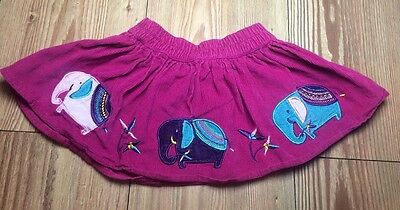 Jojo Maman Bebe 6-12 Months Baby Girl Pink Cord Skirt Embroidered Elephants