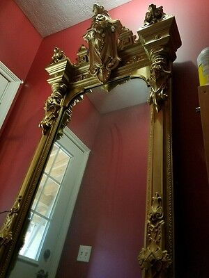 Outstanding Original Renaissance Revival Pier Mirror With Marble Top Base