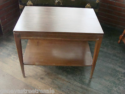 Vintage MERSMAN 2 Tier Formica & Wood End Side Table Mid-Century Modern 31-2