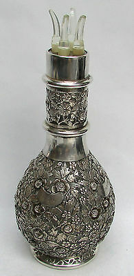 Vintage French 4 Chamber Sterling Silver (Chinese) Overlay Decanter