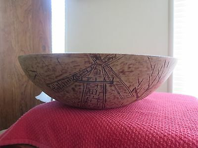 Wooden Munising Dough Bowl Old Large Centerpiece Natural Wood Signed